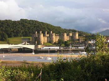View of Conwy Castle from coastal foot/cycle path which can be accessed from Lymehurst Bed & Breakfast (b&b) accommodation.