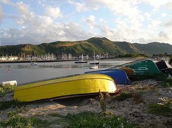 Deganwy.On the foot/cycle path to Conwy from Lymehurst Bed and Breakfast Llandudno. Conwy Mountain in Background above Conwy Marina.